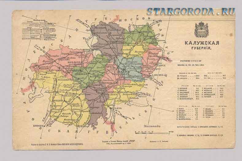 Калуга на почтовых открытках. Карта калужской губернии.