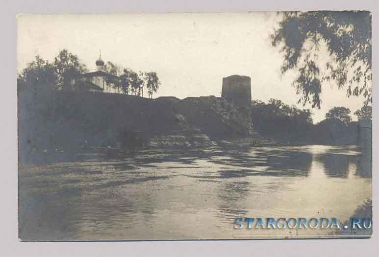 Псков на почтовых открытках. Запсковье. Кислинская башня и церковь.