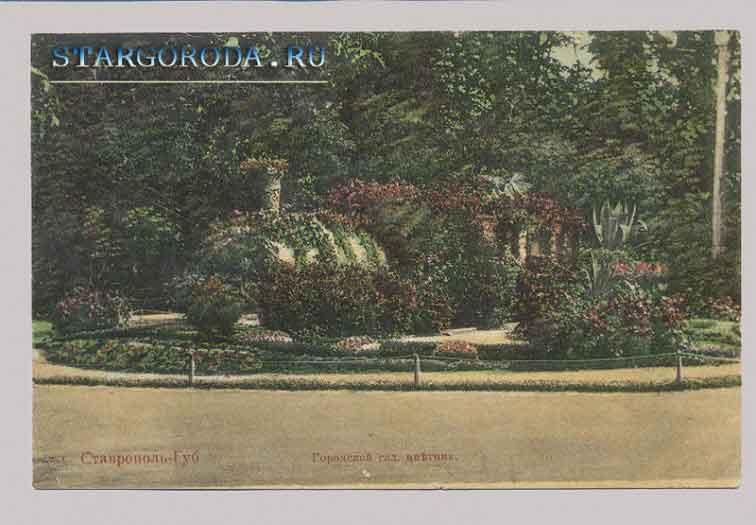 Ставрополь на почтовых открытках. Городской сад. Цветник.